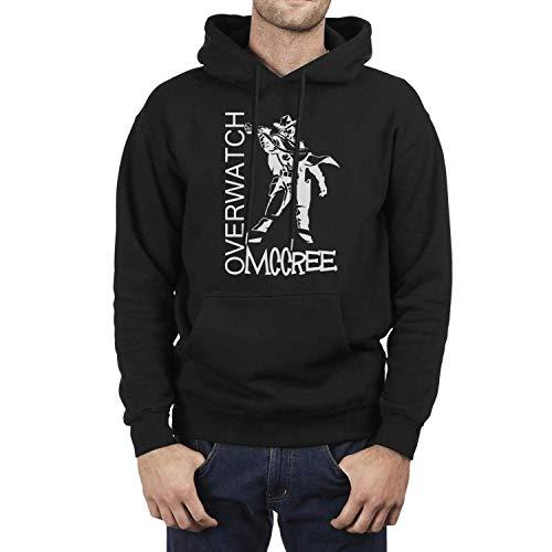 FAJDLD Overwatch-McCree-Gun-Hoodies for Men Winter Fleece Sweatshirt Pullover Hoodie Sweater