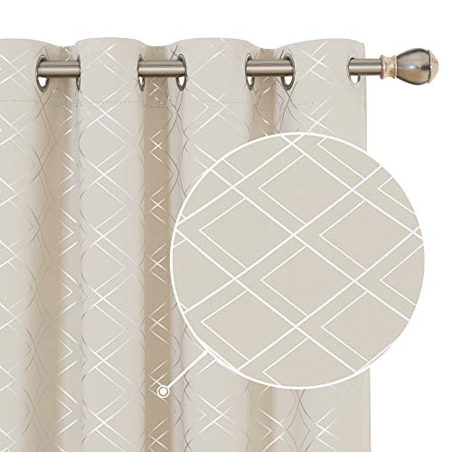 Deconovo Light Beige Blackout Curtains for Living Room 84 inches Long Room Darkening Foil Print Geometric Pattern Drapes and Curtains for Bedroom 52x84 Inch Set of 2