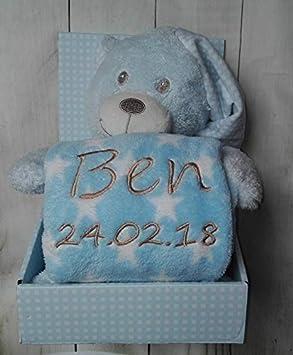 Pl/üschtier ★ Baby-Shower ★ Geburt ★ GESCHENK-SET New Baby ★ Babydecke mit Namen Blau - Teddyb/är