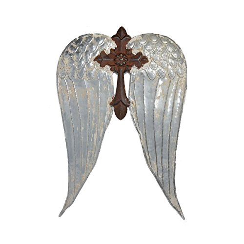 ive Lightweight Metal Angel Wings w/Cross in an Antique - Vintage Looking Farmhouse Style Hanging Wall Decor Artist's & Crafter's DIY Delight Perfect for Embellishings ()