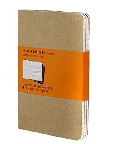 Moleskine Cahier Journal Set of 3, Pocket, Ruled, Kraft Brown, Soft Cover: set of 3 Ruled Journals