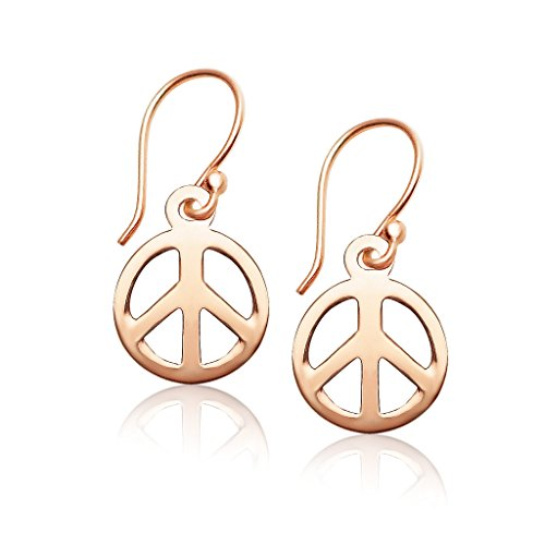 925 Sterling Silver Peace-sign Dangle Earrings Rose Gold Flashed ()