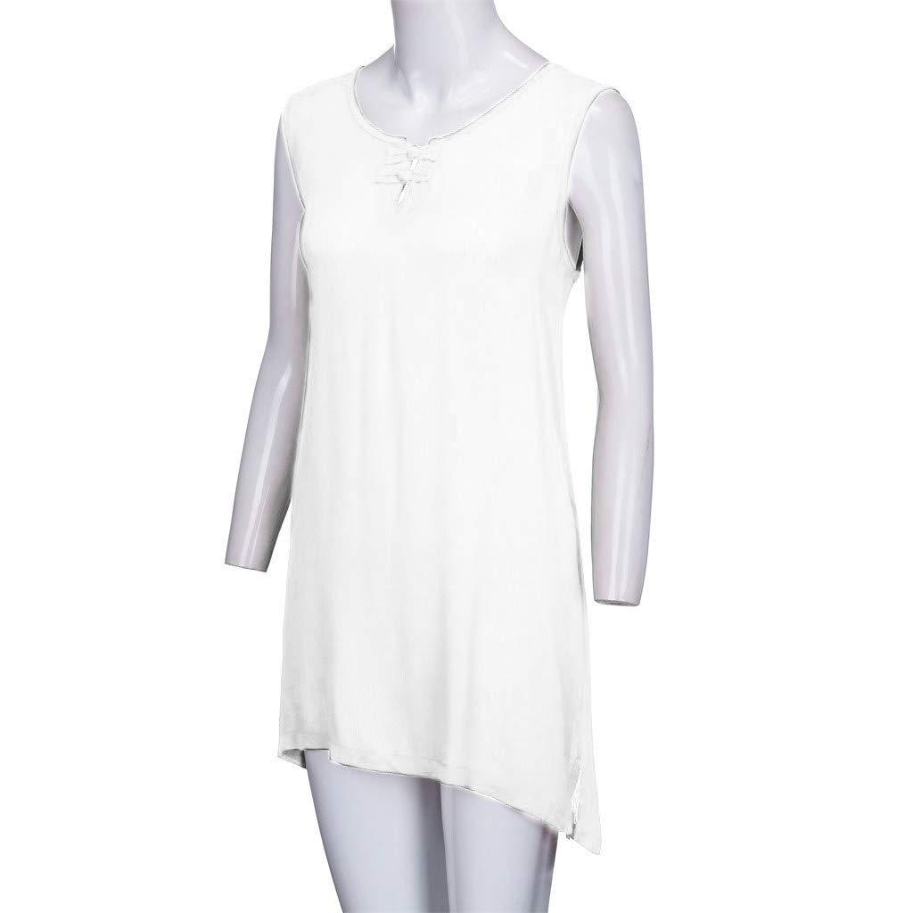 Garish 2019 Women's O-Neck Button Soild Plus Size Vintage Sleeveless Vest Tops Blouse White