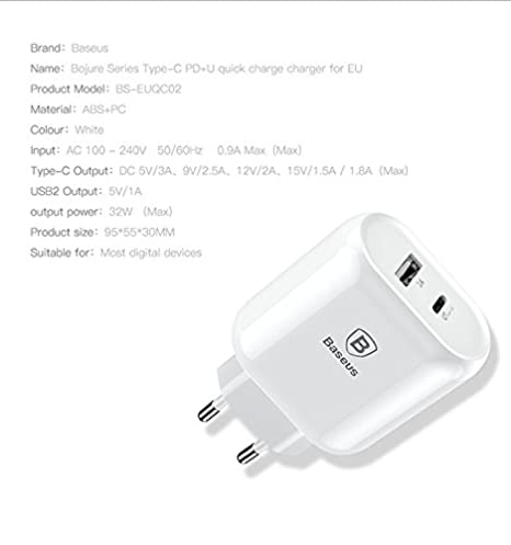 low priced db029 0a3cd Baseus 32W Type C PD Fast Charger for iPhone X 8 Samsung (White Colour  Charger Without Cable)