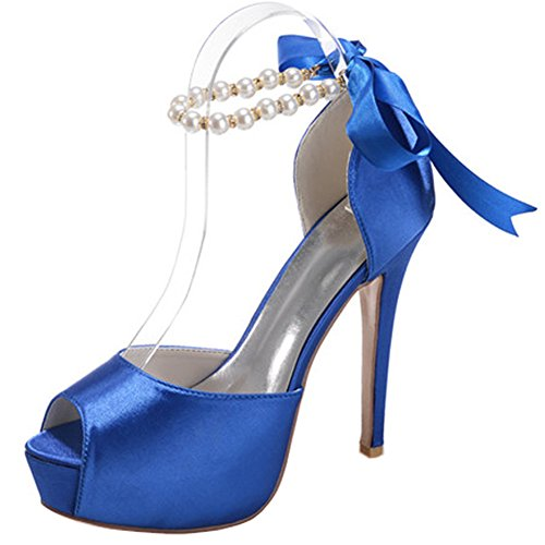 amp;S bouche peu Women's Cour Blue Mariage Mouth Fish Prom MEI Chaussures profonde High Stiletto Heels Pompes dx4wqd