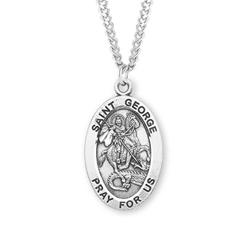 - Sterling Silver Oval Patron Saint Medal