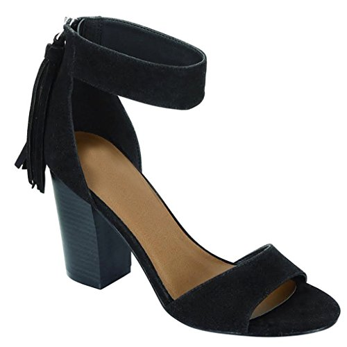 Women's Chunky Heel Faux Suede Ankle Buckle Strap High Heel Sandal (Black (Faux Suede Buckle)