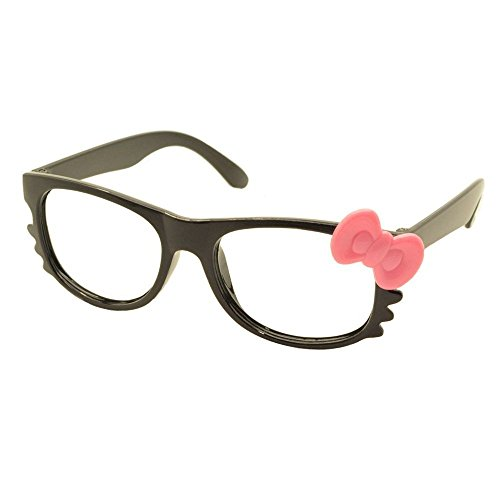 FancyG Cute Nerd Glass Frame with Bow Tie Cat Eyes Whiskers Eyewear for Kids 3-12 NO LENS - Black with Pink - Glasses Bow
