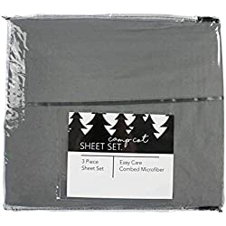Camp Cot Size Bed Sheet Set - Summer Camp/RV Cot Size Bedding - 3 Piece Set - 28 Inches x 72 Inches - Grey