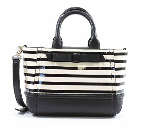 Handbag Designer Gigi - Kate Spade New York Chelsea Park Patent Stripe Gigi,Black/Cream