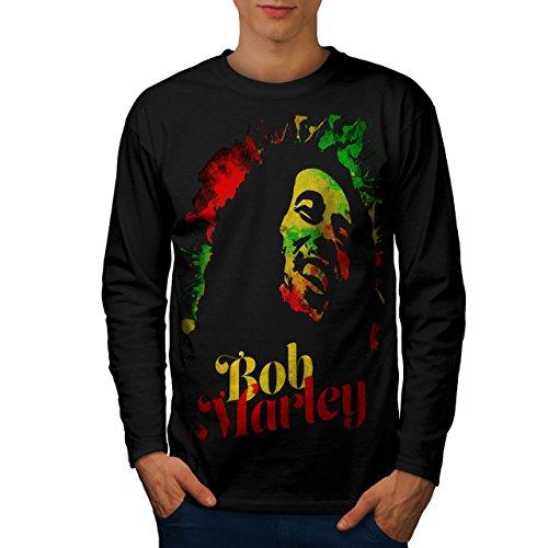wellcoda 420 Weed Rasta Mens Long Sleeve T-Shirt, Reggae Graphic Print Black M