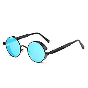 AMZTM Trend Fashion Goggles Retro Eyewear Glasses Frames Steampunk Small Round Mirrored Reflective REVO Lens Polarized Sunglasses For Women and Men (Black Frame and Ice Blue Lens, 48)