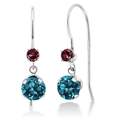 Gem Stone King 1.18 Ct Round London Blue Topaz Red Rhodolite Garnet 14K White Gold Earrings