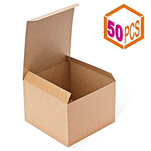 MESHA Kraft Boxes 5 x 5 x 3.5 Inches, Brown Paper Gift Boxes with Lids for Gifts, Crafting, Cupcake Boxes,Boxes for Wrapping Gifts,Bridesmaid Proposal Boxes (50PACK) -