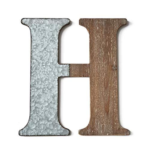The Lakeside Collection Wood & Metal Wall Letters - Decorative Galvanized Rustic Wall Art - H