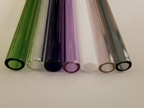 """8"""" Borosilicate Glass Blowing Tubing 7 Colored Tubes 12mm OD 2mm Thick Wall Tube"""