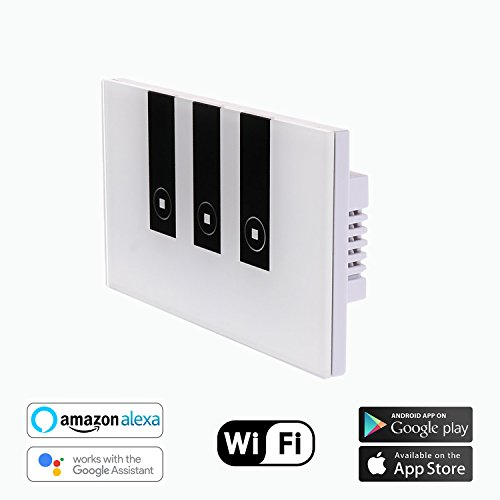 Smart Wifi Wall Light Switch Touch Wall Switch Panel Wireless Switch Replace 3 Switches in 1 Gang Wall Box,Compatible with Alexa and Google Assistant