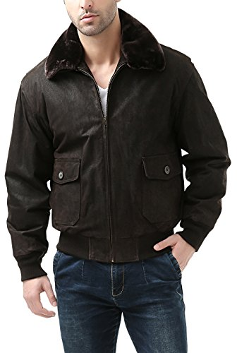 Landing Leathers Navy Men's G-1 Distressed Leather Flight Bomber Jacket - L