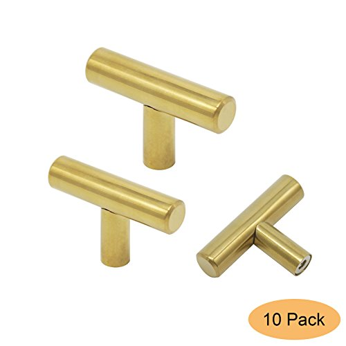 Gobrico Gold/Brushed Brass Stainless Steel Single T Bar Door Handles Kitchen Cabinet Drawer Pulls Knobs 50mm/2