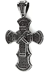 Black Plated Crystal Hip Hip Blackout Micro Pave Mens Religious Cross Pendant (4 inch x 2 inch)