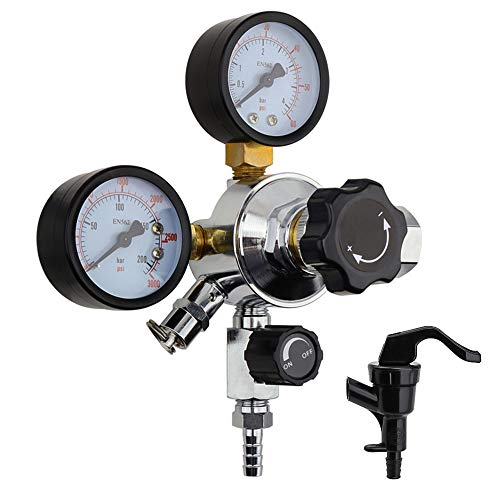 - OneBom CO2 Regulator, Keg Beer Regulator CGA -320 Inlet, with Pressure Relief Valve for Gas 0-3000PSI (Dual Gauge)