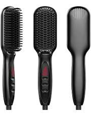 Hair Straightening Brush KAMLE Made of MCH Ceramic Technology - Ionic Hair Straightener Brush 30s Fast Heating with Anti-Scald For Home Or Travel (Black)