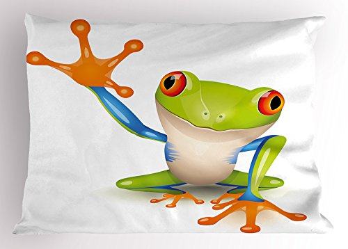 - Lunarable Cute Pillow Sham, Little Tree Frog Vivid Graphic Figure Friendly Wildlife Mascot Funny Character Print, Decorative Standard Queen Size Printed Pillowcase, 30 X 20 inches, Multicolor