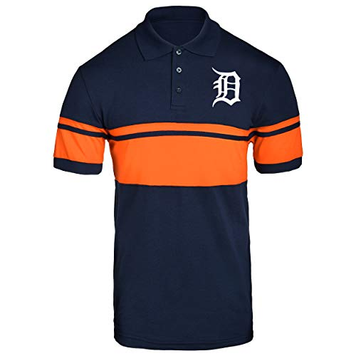 FOCO MLB Detroit Tigers Cotton Stripe Polo - Mens Double Extra Large