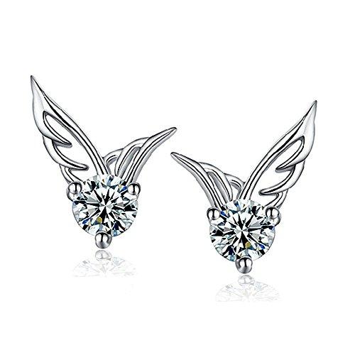 MANDI HOME Shining Angel Wings Shape Crystal Silver Earring