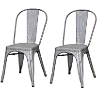Joveco Sheet Metal Frame Tolix Antique Vintage Galvanized Distressed Style Bar Chairs with Back - Set of 2 (Silver Grey)