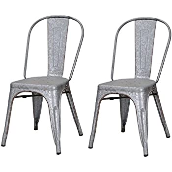 Good Joveco Sheet Metal Frame Tolix Antique Vintage Galvanized Distressed Style  Bar Chairs With Back   Set