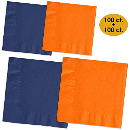 (200 Napkins - Navy blue & Pumpkin Orange - 100 Beverage Napkins + 100 Luncheon Napkins, 2-Ply, 50 Per Color Per Type)