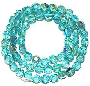 Steven_store CZ3121 Light Aqua AB Blue 6mm Fire-Polished Faceted Round Czech Glass Beads 16