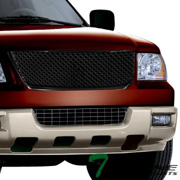(Topline Autopart Glossy Black Mesh Front Hood Bumper Grill Grille ABS For 03-06 Ford Expedition)