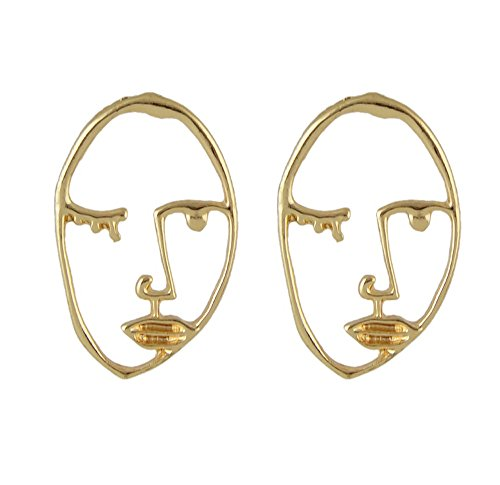 Feelontop Abstract Art Gold Color Human Head Figure Face Shape Ear Studs Earrings with Jewelry - And Shapes Face Head
