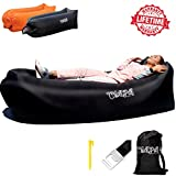 Inflatable Lounger Hammock by ChillPill:Comfortable Blow Up Air Lounger for Outdoor Use-Portable Lounge Chair with Side Pocket,Stakes,Bottle Opener and Carry Bag-Lightweight Oxford Nylon Air Couch