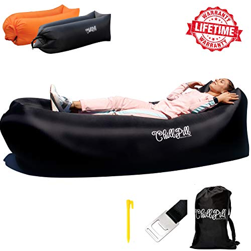 ChillPill Inflatable Lounger Hammock-Comfortable Blow Up Air Lounger for Outdoor Use-Portable Lounge Chair with Side Pocket,Stakes,Bottle Opener and Carry Bag-Lightweight Oxford Nylon Air Couch