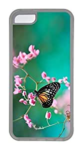 iPhone 5C Case, Customized Protective Soft TPU Clear Case for iphone 5C - Buterfly Spring Cover
