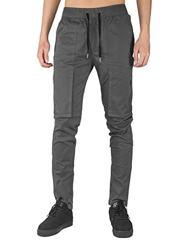 THE AWOKEN Mens Chino Cargo Pants Casual Trousers Cotton Twill Slim Fit Black (Dark Grey, XL) (Twill Cotton Trouser)