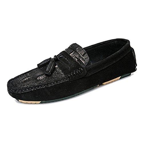 Tda Mens Slip-on Gummisula Mocka Tofs Avslappnad Körning Promenad Loafers Mockasiner Skor Svarta
