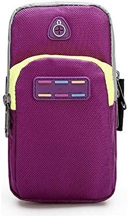 アームポーチ 電話バッグ「」5.5の場合はイヤホンアームバッグジムバッグを実行している女性男性スポーツバッグアウトドアサイクリング スポーツアームバンド (Color : Purple, Size : One size)