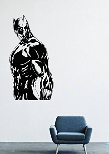 T'challa Costume (Wall Decals Decor Viny Black Panther Marvel Comics Superhero T'Challa Power Shoes Costume Mask Superpower Claws Africa Nubyyskyy Carbon Tiger Prince Charles, Mr. Luc Okonkvo Male Boy Ornament LM0695)