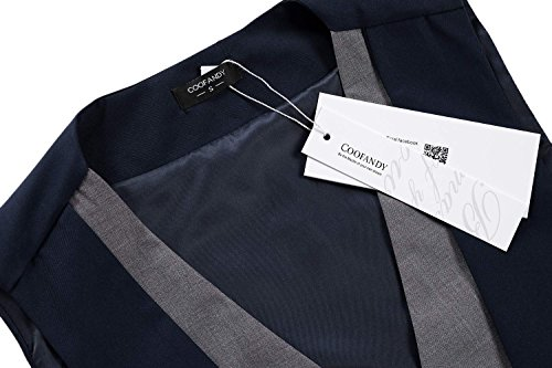 Costume Sans S Casual xxl Veste Mariage Gilet Taille Homme De Coofandy Bleu Manche EvqZX0