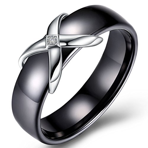 (FENDINA Women's Classic 8MM Ceramic Wedding Engagement Band X Solitaire Tiny CZ Criss Cross Eternity Promise Rings Black & Silver 6)