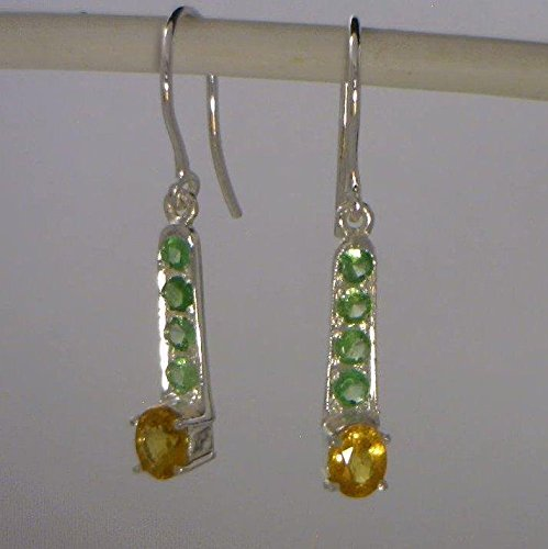 [Yellow Sapphire Green Tsavorite Garnet Handmade Silver Ladies Pair of Earrings] (Tsavorite Green Garnet)