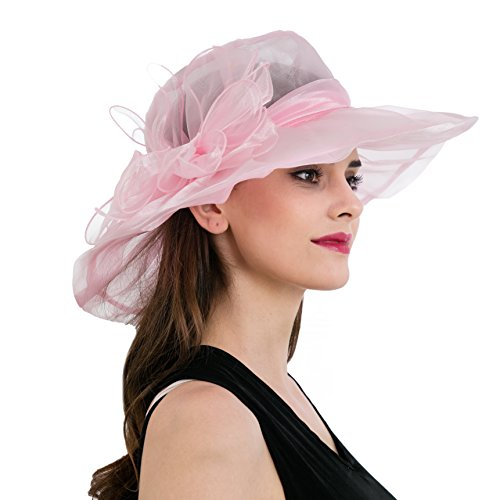 Dantiya Women's Colorful Organza Kentucky Wide Brim Bow Derby Sun Hat (Pink)