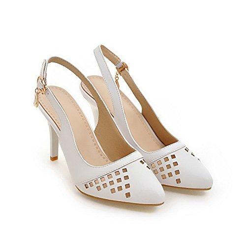 BalaMasa Womens Plaid Oversized Baguette-Style Urethane Sandals ASL05128 White Ocktk