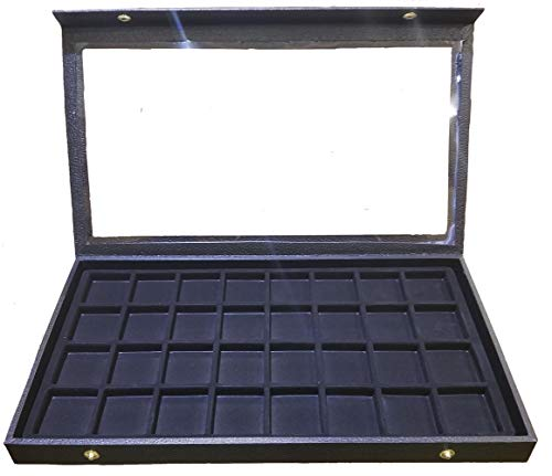 32 Slot Earring/Ring/Cuff Links/Coins Jewelry Display Case Clear Top Black