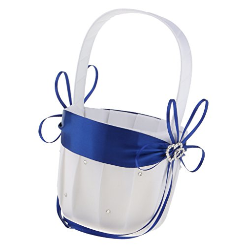 - MonkeyJack Flower Girls Basket Rhinestone Double Heart Satin Wedding Ceremony Party Decor - Royal Blue, as described