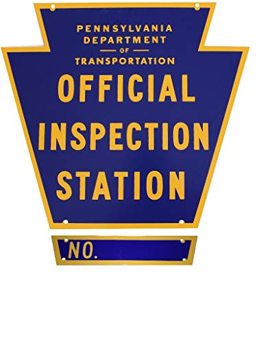 (Pennsylvania Official Inspection Station Sign with Number Plate and Hardware)